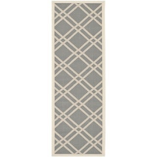 Safavieh Indoor/ Outdoor Courtyard Anthracite/ Beige Rug (2'3 x 6'7)