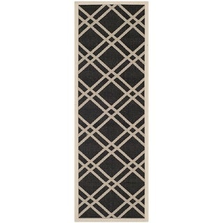 Safavieh Indoor/ Outdoor Courtyard Black/ Beige Runner Rug (2'3 x 6'7)
