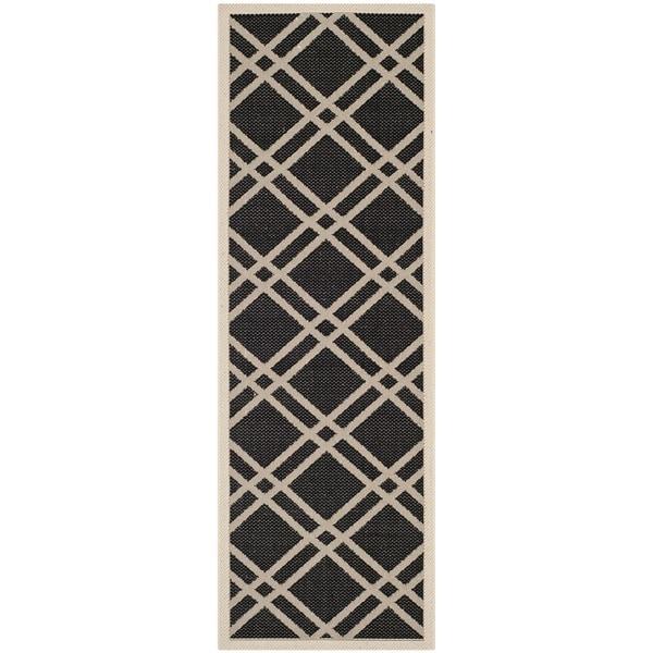 Safavieh Indoor/ Outdoor Courtyard Black/ Beige Runner Rug (2'3 x 6'7)