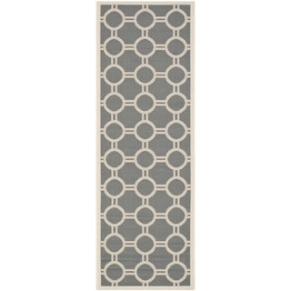 Safavieh Indoor/ Outdoor Courtyard Circles-pattern Anthracite/ Beige Rug (2'3'' x 6'7'')