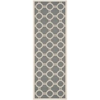 Safavieh Indoor/ Outdoor Courtyard Circles-pattern Anthracite/ Beige Rug (2'3'' x 6'7'')
