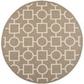Safavieh Indoor/ Outdoor Courtyard Squares and Circles Brown/ Bone Rug (7'10'' Round)