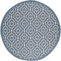 Safavieh Indoor/Outdoor Courtyard Blue/Beige Geometric Rug (7'10 Round)