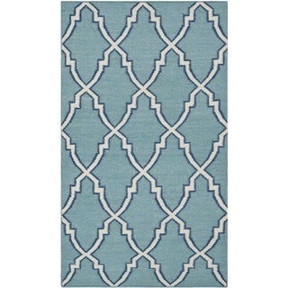 Safavieh Handwoven Moroccan Dhurrie Light Blue Geometric Wool Rug (3' x 5')