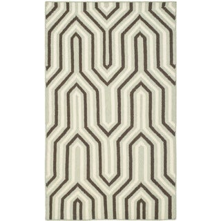 Safavieh Handwoven Transitional Moroccan Reversible Dhurrie Grey Wool Rug (3' x 5')
