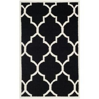 Safavieh Handwoven Moroccan Reversible Dhurrie Geometric Black Wool Rug (4' x 6')