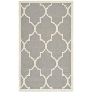 Safavieh Handwoven Moroccan Reversible Dhurrie Grey Wool Area Rug (3' x 5')