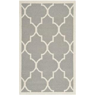 Safavieh Handwoven Moroccan Reversible Dhurrie Grey Wool Area Rug (4' x 6')