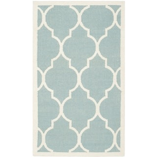 Safavieh Hand-woven Moroccan Reversible Dhurrie Light Blue Wool Rug (4' x 6')