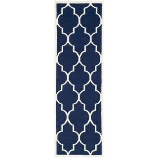 Safavieh Hand-woven Moroccan Reversible Dhurrie Navy Wool Rug (2'6 x 6')