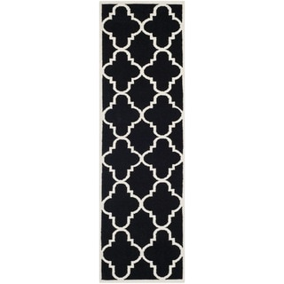Safavieh Black Handwoven Moroccan Reversible Dhurrie Wool Runner Rug (2'6 x 6')