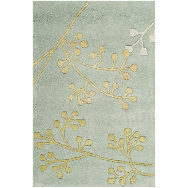 Safavieh Handmade Soho Vine Light Blue New Zealand Wool Rug (2' x 3')