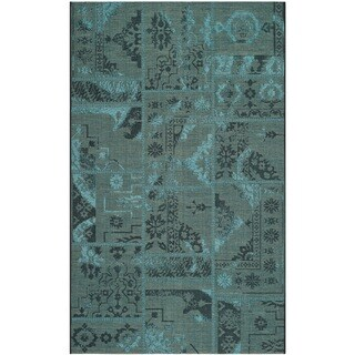 Safavieh Palazzo Black/ Turquoise Polypropylene/ Over-dyed Chenille Rug (5' x 8')