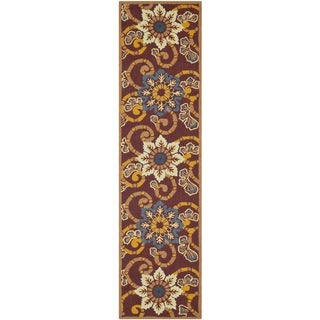 Safavieh Hand-hooked Indoor/Outdoor Four Seasons Burgundy Rug (2' x 8')
