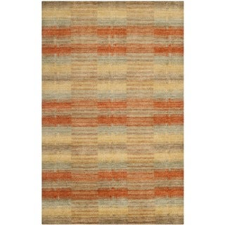 Hand-knotted Himalayan Southwest Multi-colored Wool Rug (9' x 12')