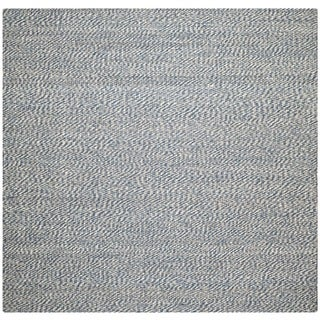 Handwoven Doubleweave Sea Grass Blue Rug (8' Square)