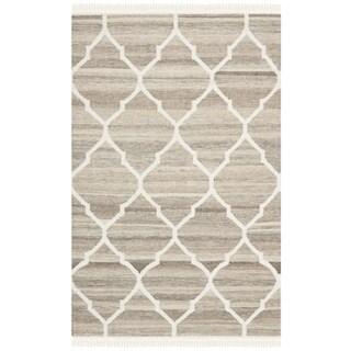 Safavieh Hand-woven Natural Kilim Light Grey/ Ivory Wool Rug (3' x 5')