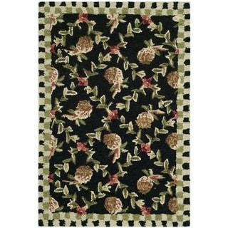 Safavieh Hand-hooked Chelsea Black/ Ivory Wool Rug (2'6 x 4')