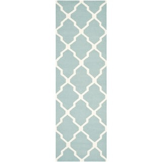 Safavieh Hand-woven Moroccan Dhurrie Light Blue Wool Rug (2'6 x 12')