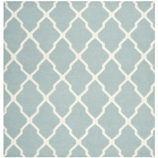 Safavieh Hand-woven Moroccan Reversible Dhurrie Light Blue Wool Rug (6' Square)