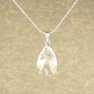 Jewelry by Dawn Large Clear Crystal Pear Sterling Silver Necklace