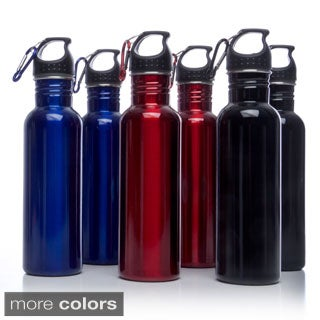 Cook's Corner 25-ounce Stainless Steel Wide Mouth Sports Water Bottles with Clip (Set of 2)
