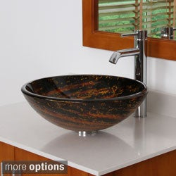 ELITE 7011F371023 Galaxy Design Tempered Glass Bathroom Vessel Sink With Faucet Combo