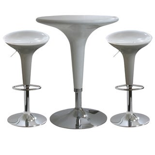 AmeriHome White 3-piece Modern Adjustable-height Bar Set