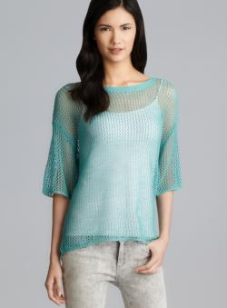 Kensie Scoop Neck Short Sleeve Open Stitch Sweater