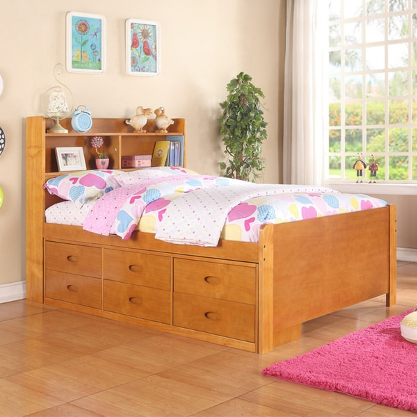 Pine Fruitwood Twin Captains Bed