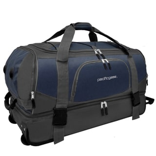 Pacific Gear 30-inch Drop Bottom Navy/ Grey Rolling Upright Duffel Bag