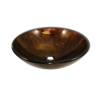 Bronze Goddess Tempered Glass Round Vessel Sink