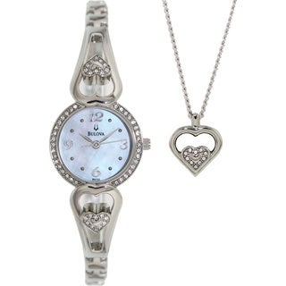 Bulova Women's Crystal 96X122 Silver Stainless-Steel Analog Quartz Watch with Mother-Of-Pearl Dial