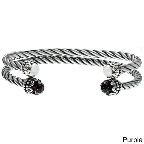 Sunstone Silver Purple or Blue Glass Twist Rope Cuff Bracelet Set
