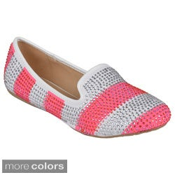 Journee Collection Women's 'Alyssa-4' Studded Striped Flats