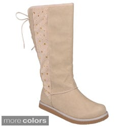 Journee Collection Women's 'Honesty' Studded Lace-up Detail Boots
