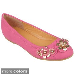 Journee Collection Girl's 'Jovie-10' Round Toe Flower Accent Ballet Flats