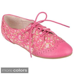 Journee Collection Girl's 'Jovie-6' Floral Lace-up Oxfords