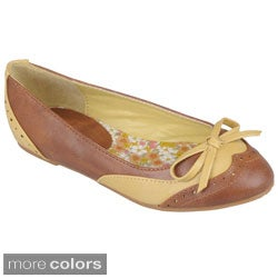 Journee Collection Girl's 'Jovie-8' Round Toe Bow Accent Ballet Flats
