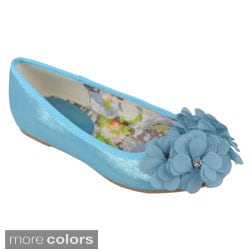 Journee Collection Girl's 'Jovie-9' Round Toe Flower Accent Ballet Flats