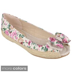 Journee Collection Girl's 'Sassy' Open Toe Bow Accent Ballet Flats