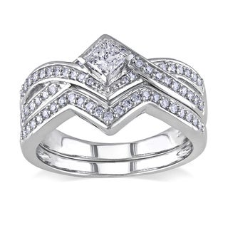 Miadora 14k White Gold 5/8ct TDW Diamond Bridal Ring Set (G-H, I1-I2)