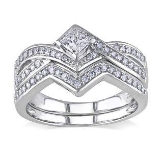 Miadora 14k White Gold 5/8ct TDW Diamond Bridal Ring Set (G-H, I1-I2)