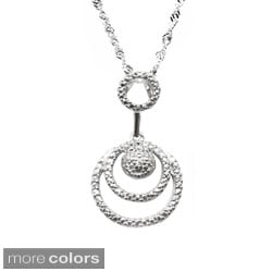 De Buman Sterling Silver White or Black Diamond Circle Necklace