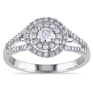 Miadora 14k White Gold 1/2ct TDW Halo Diamond Ring (G-H, I1-I2)
