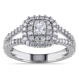 Miadora 14k White Gold 1ct TDW Halo Diamond Ring (G-H, I1-I2)