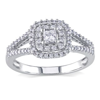 Miadora 14k White Gold 1/2ct TDW Princess-cut and Round Diamond Split Shank Halo Engagement Ring (G-H, I1-I2)