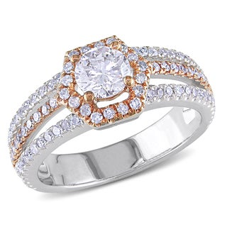 Miadora 14k White Gold 1ct TDW Rose Accent Diamond Ring (G-H, I1-I2)