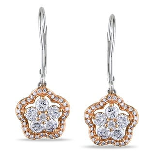 Miadora 14k White Gold 1ct TDW Diamond Flower Dangle Earrings (G-H, I1-I2)