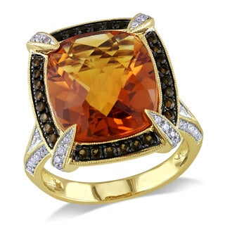 Miadora 14k Yellow Gold 1/2ct TDW Diamond, Citrine and Quartz Ring (G-H, SI1-SI2)